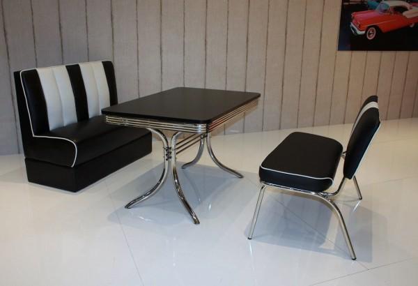 """Bankgruppe """"Atlanta"""", American Diner Style; Doppelsäulen Bistrotisch, 1 Bistrobank und 1 Bistropolsterbank; Bezug: schwarz/weiß; Tischplatte schwarz"""
