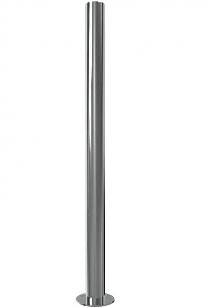 Abperrpfosten aus Edelstahl V2A, ortsfest, zum Aufdübeln, aus Rohr Ø 60 mm, geschliffen, Überflurlänge 900 mm