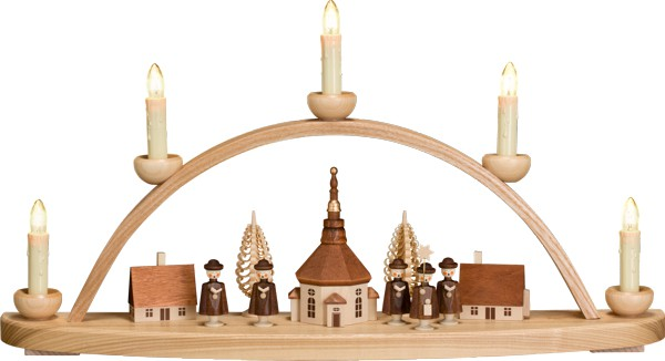 """Leuchterbogen / Kerzenhalter """"Seiffener Dorf"""", aus Holz, natur/braun, Breite 50 cm"""