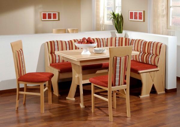 Truhen-Eckbankgruppe Buche natur Dekor; Eckbank, 2 Stühle und Wangentisch, Bezug: rot-bunt, variabel aufbaubar