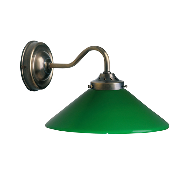 Wandleuchte, Landhaus Stil, Messing antik-handpatiniert (Altmessing), mit grünem Glas, Wandabstand 16 cm, 230 V, E27 60 W