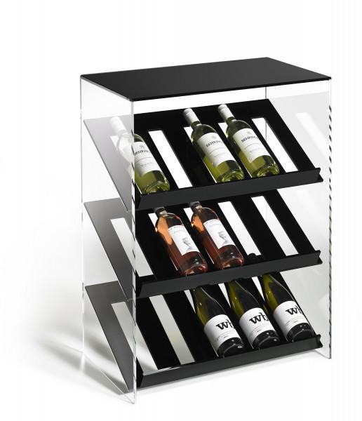 Hochwertiges Acryl-Glas Designer Weinregal Flaschenregal Weinschrank, B 60 x T 35 x H 80 cm, Acryl-Stärke 8 mm