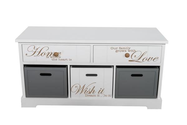 kommode schr nkchen home 2 aus mdf wei und grau lackiert mit 2 schubladen und 3. Black Bedroom Furniture Sets. Home Design Ideas