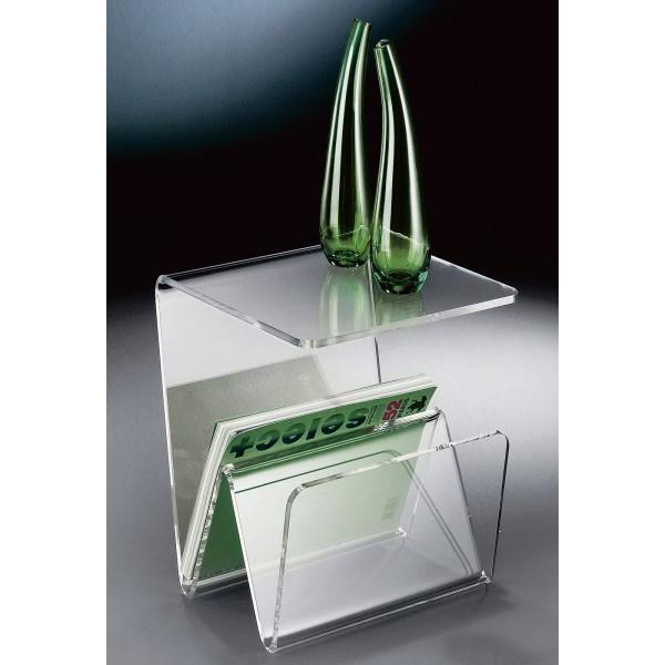 Hochwertiger Acryl-Glas Zeitungsständer, Beistelltisch mit Zeitschriftenständer, Zeitungstasche, klar, 35 x 35 cm, H 41,5 cm, Acryl-Glas-Stärke 10 mm