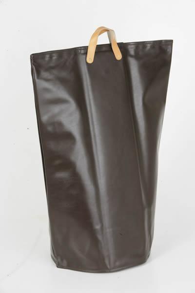Designer Wäschetasche / Wäschesack aus Kunstleder mit 2 Griffen, Innen mit Holz verstärkt, Ø 50 x H 70 cm, in 2 Farben erhältlich