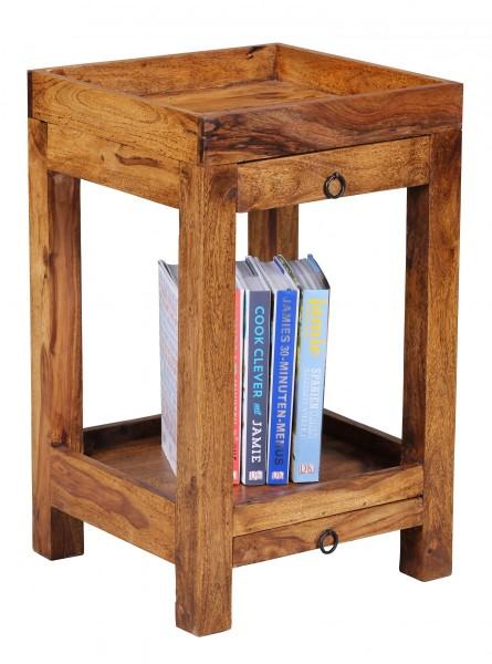 Beistelltisch Massivholz Sheesham mit 2 Schubalden, H65 cm, Wohnzimmertisch mit 2 Schubladen, Telefontisch, Anstelltisch Holz