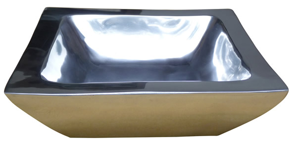 Schale, quadratisch, doppelwandig, aus Aluminium, hochglanzpoliert, B 30 x L 30 x H 9 cm