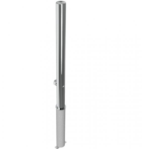 Absperrpfosten aus Edelstahl V2A, herausnehmbar per Dreikantverschluss, zum Einbetonieren, aus Rohr Ø 60 mm, geschliffen, Überflurlänge 900 mm
