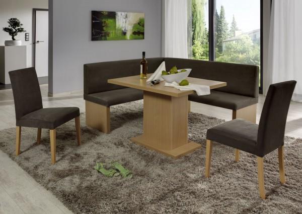Eckbankgruppe, Buche natur Dekor bzw. Buche naturfarbig massiv; Eckbank, 2 Stühle und Säulentisch, Bezug: beige-grau, variabel aufbaubar