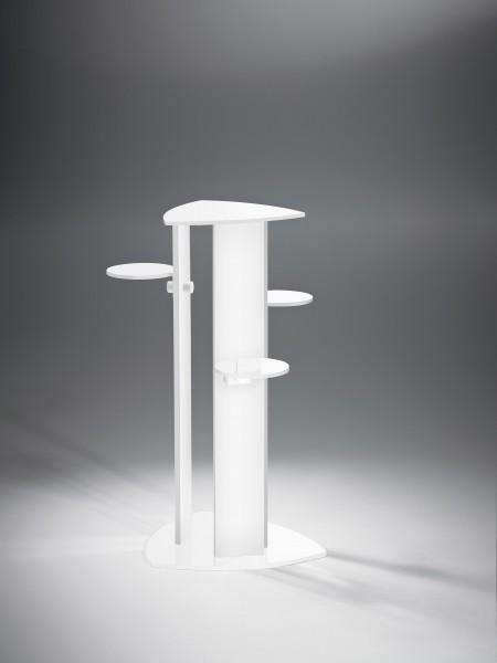 Hochwertige Acryl-Glas Blumensäule mit 4 Ablageflächen, Ablagen, Standfuß und Säulen weiß, 40 x 40 cm, H 92 cm, Acryl-Glas-Stärke 8 / 10 mm-Copy