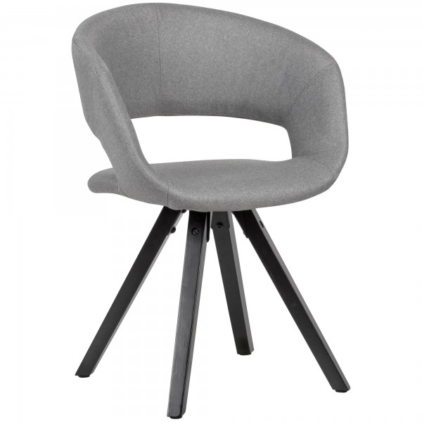 Esszimmerstuhl Hellgrau, Stoff mit schwarzen Beinen, Retro Stuhl, Küchenstuhl mit Lehne, Maximalbelastbarkeit 110 kg