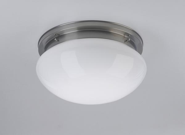 Deckenleuchte / Plafonnier, Messing Nickel matt, Glas weiß glänzend, Höhe 20 cm, Breite 41 cm, 230 V, 3 x E27 75 W