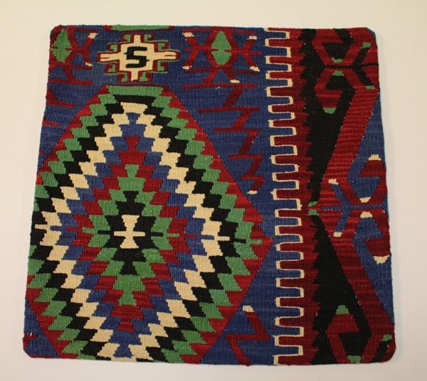 Kelim Kissenhülle, echtes handgewebtes Unikat, 100 % Wolle, mit Reißverschluss, Größe ca. 50 x 50 cm
