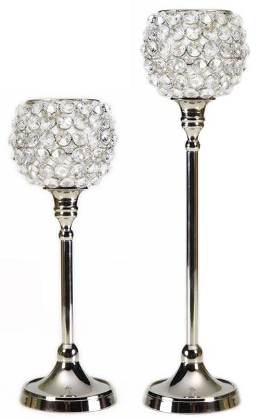 Kerzenständer, klein, aus Aluminium, vernickelt, mit Kristall-Verzierung, 2er-Set mit 2 verschiedenen Größen