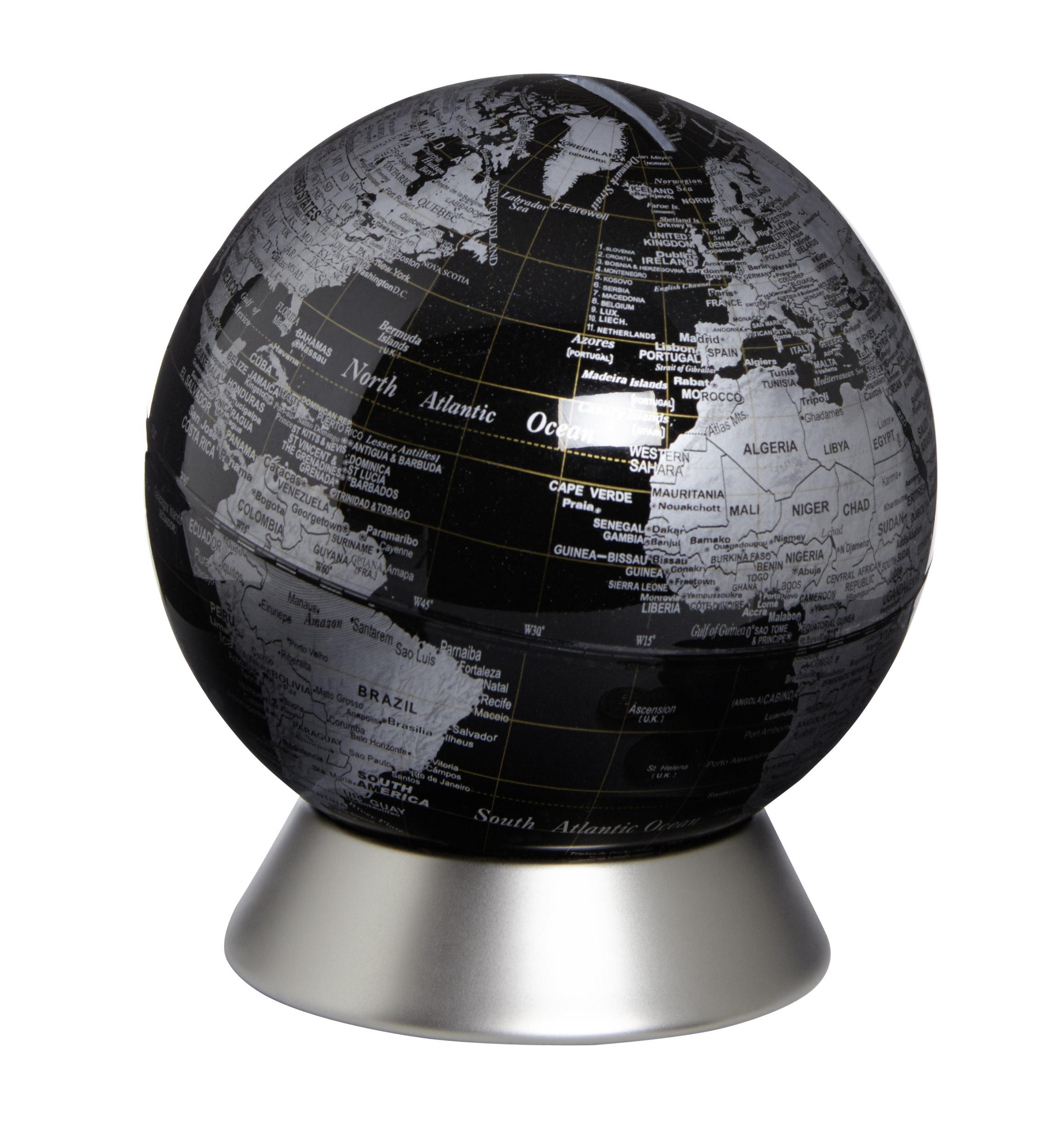 Moderner Globus Weltkugel Spardose Aus Metall Silber Und