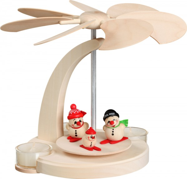 """Bogenpyramide / Weihnachtspyramide für Teelichter, """"Cool-Man"""", aus Holz, natur, Höhe 18 cm"""