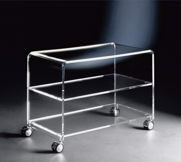 hochwertiger acryl glas tv wagen tv tisch mit 4 chromrollen klar 63 x 38 cm h 48 cm acryl. Black Bedroom Furniture Sets. Home Design Ideas