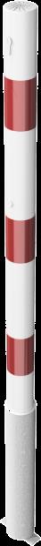 Absperrpfosten, herausnehmbar per Profilzylinder, zum Einbetonieren, aus Stahlrohr Ø 60 mm, verzinkt und beschichtet, weiß/rot, Überflur 900 mm
