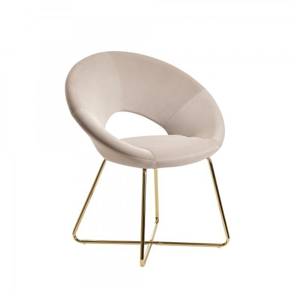 Esszimmerstuhl Samt Beige, Küchenstuhl mit goldenen Beinen, Schalenstuhl Stoff/Metall, Design Polsterstuhl, Stuhl Esszimmer Gepolstert