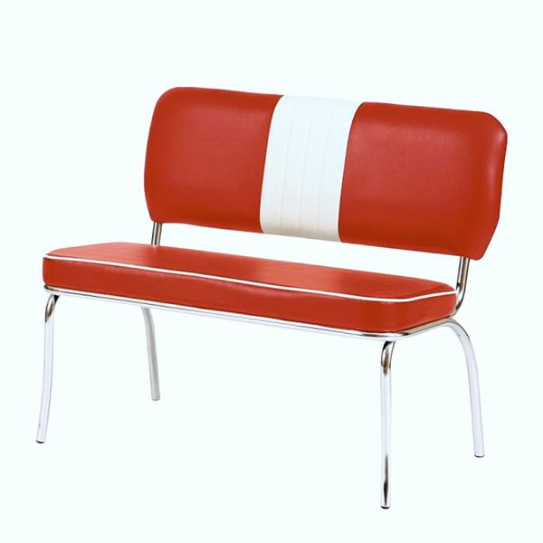 """Bistro-Sitzbank """"Louisiana"""", 2-teiliges Set, Retro / 50er-Jahre, Gestell Stahlrohr verchromt, Bezug 100% Polyester in Lederoptik, Sitzmaße: H48 x T45 x B100 cm"""