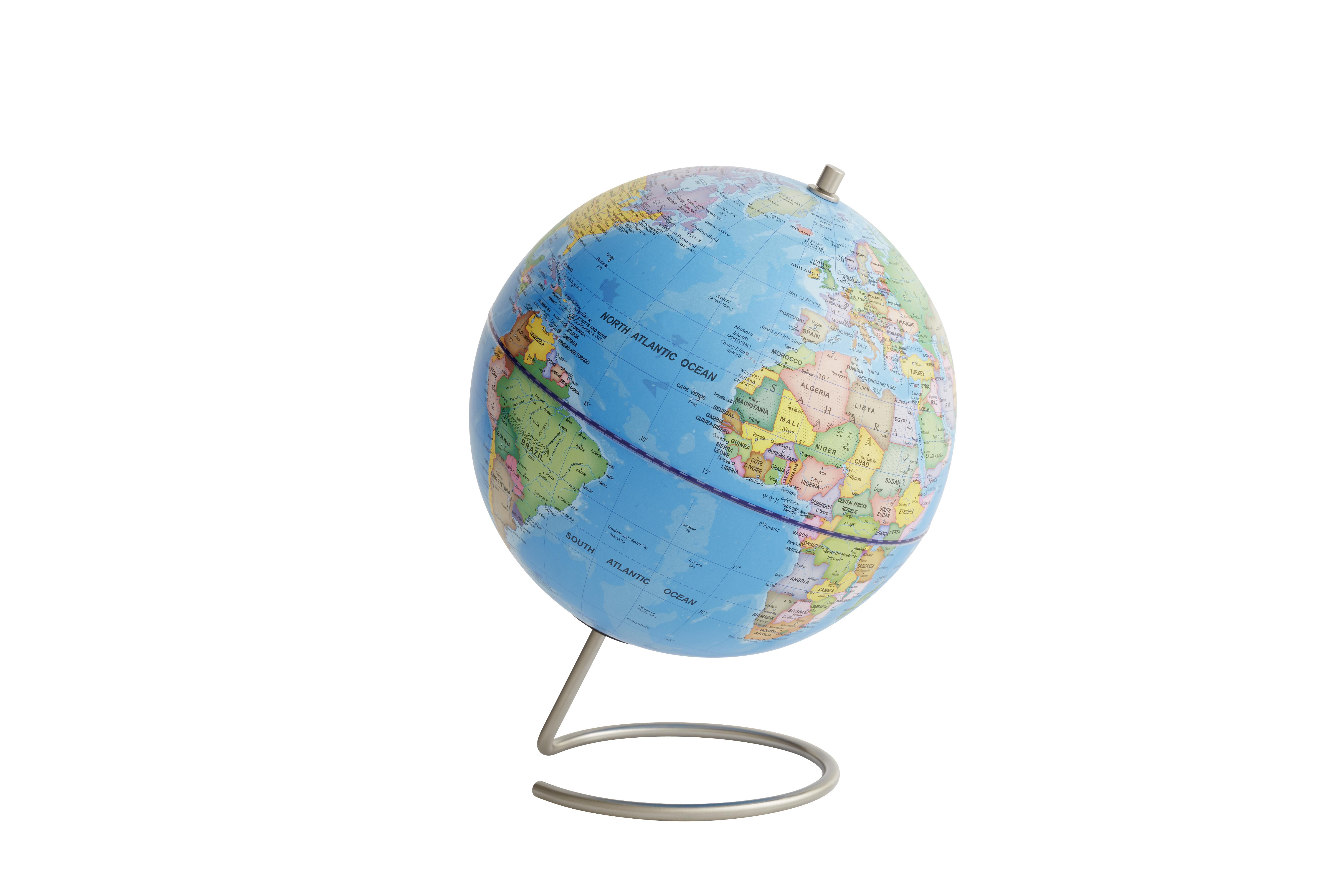 Globus Weltkugel Karte.Moderner Globus Weltkugel Magnet Hellblau Aus Edelstahl Und Kunststoff ø23 Cm X H29 Cm