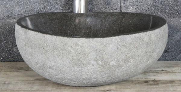 Aufsatzwaschbecken aus Flussstein, ca. B35 x T30 x H13,5 cm