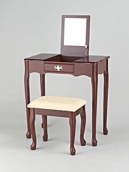 """Schminktisch """"Chéri"""", inklusive eckigem Spiegel und beige-gepolstertem Hocker, aus kirschfarbigem Holz"""