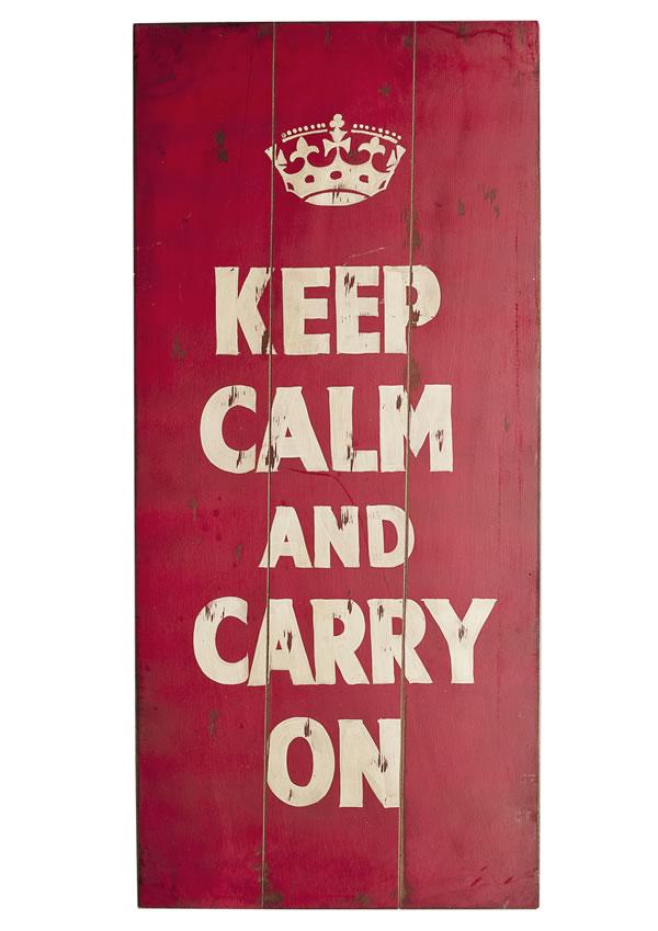 "Wand-/Dekoschild / Wall Art ""Keep Calm"", aus MDF, im Vintage-Look, B40 x H90 x T4 cm"