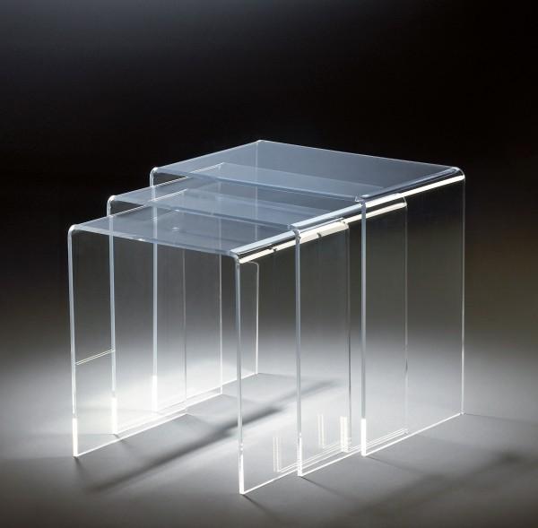 Hochwertiger Acryl-Glas Dreisatztisch, klar, 44 x 29,5 cm, H 42,5 cm und 39 x 29,5 cm, H 40,5 cm und 34 x 29,5 cm, H 38,5 cm, Acryl-Glas-Stärke 8 mm