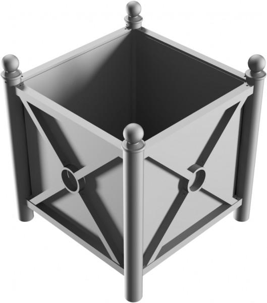 Pflanzbehälter mit seitlichen Stahlblechen mit Zierprofilen und Bodenblech, feuerverzinkt und dunkelgrau beschichtet, 640 x 640 x 500 mm