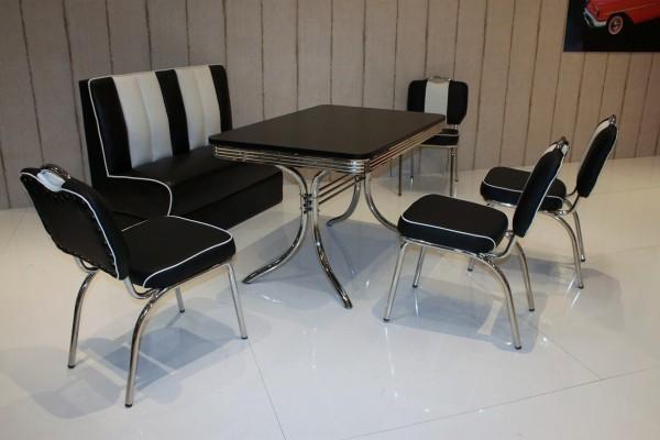 """Bankgruppe """"Nashville"""", American Diner Style; Doppelsäulen Bistrotisch, 4 Bistrostühle und 1 Bistropolsterbank; Bezug: schwarz/weiß; Tischplatte schwarz"""