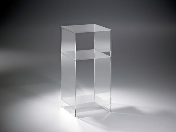 Hochwertiges Acryl-Glas Standregal, Konsole mit 2 Fächern, Regalböden und Seiten klar