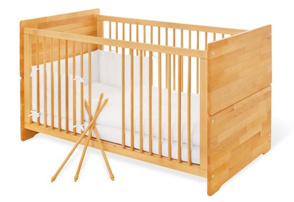 Pinolino Kinderbett, natur, aus Buche, vollmassiv und geölt mit Hartöl auf Leimsamenöl-Basis, L 144 x B 77 x H 80 cm, Matratzenmaß L 140 x B 70 cm