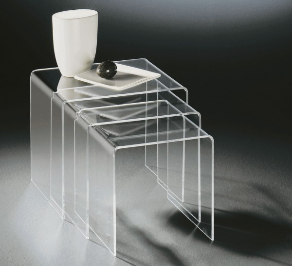 Hochwertiger Acryl-Glas Dreisatztisch, klar, 40 x 33 cm, H 35 cm und 35 x 33 cm, H 33 cm und 30 x 33 cm, H 30 cm