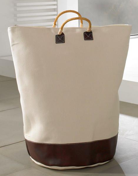 Designer Wäschetasche / Wäschesack aus Canvas mit 2 Griffen, champagnerfarben, Ø 58 cm, H 72 cm