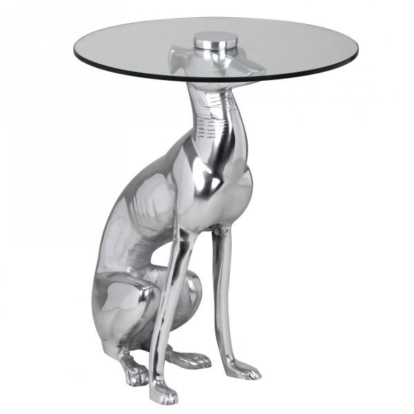 """Design Deko Beistelltisch, Figur """"Windhund"""" aus Aluminium, Silber, Anstelltisch mit Glasplatte"""