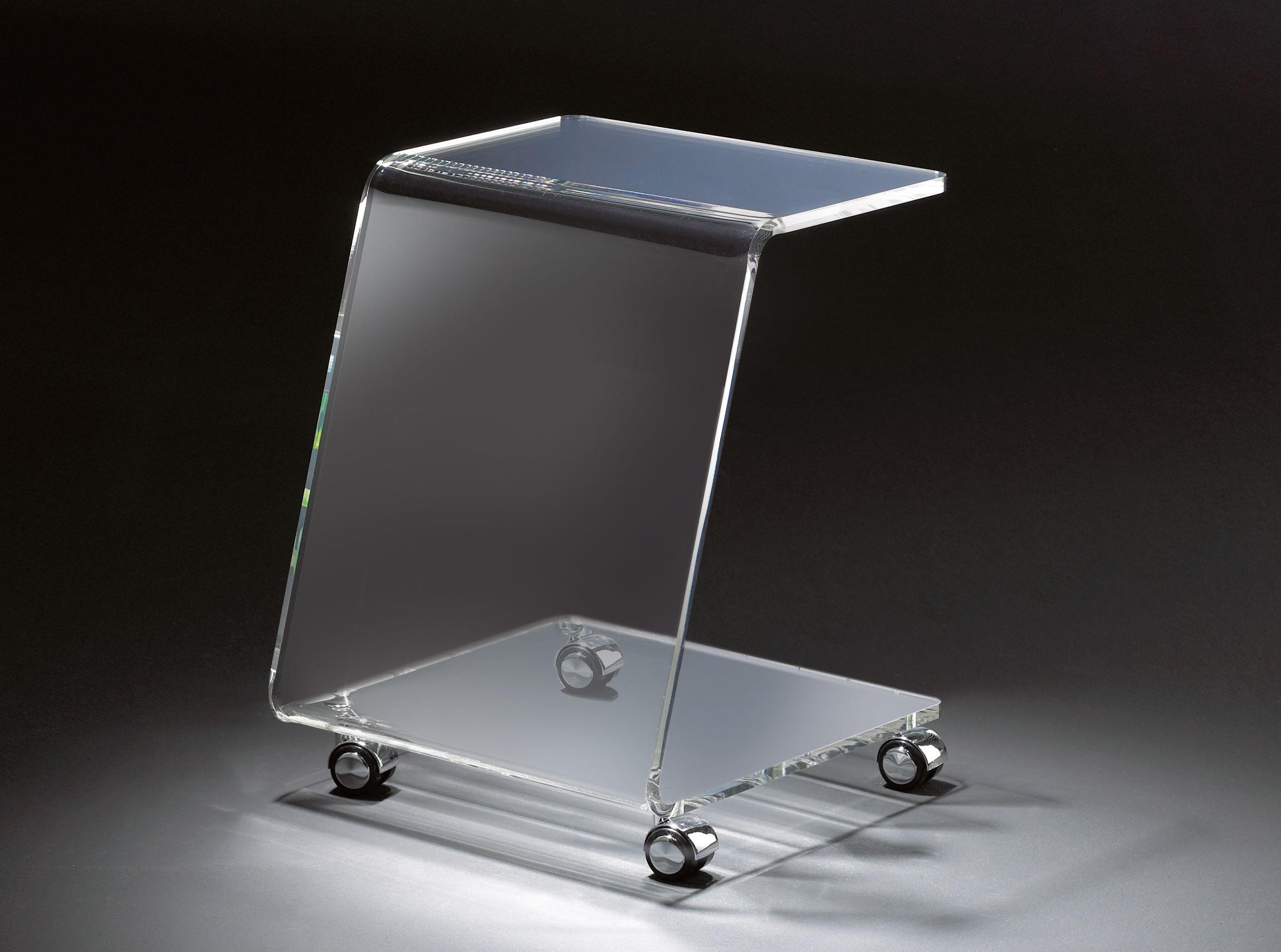 Bemerkenswert Glasbeistelltisch Das Beste Von Hochwertiger Acryl-glas Beistelltisch Mit Chromrollen, Klar, 37