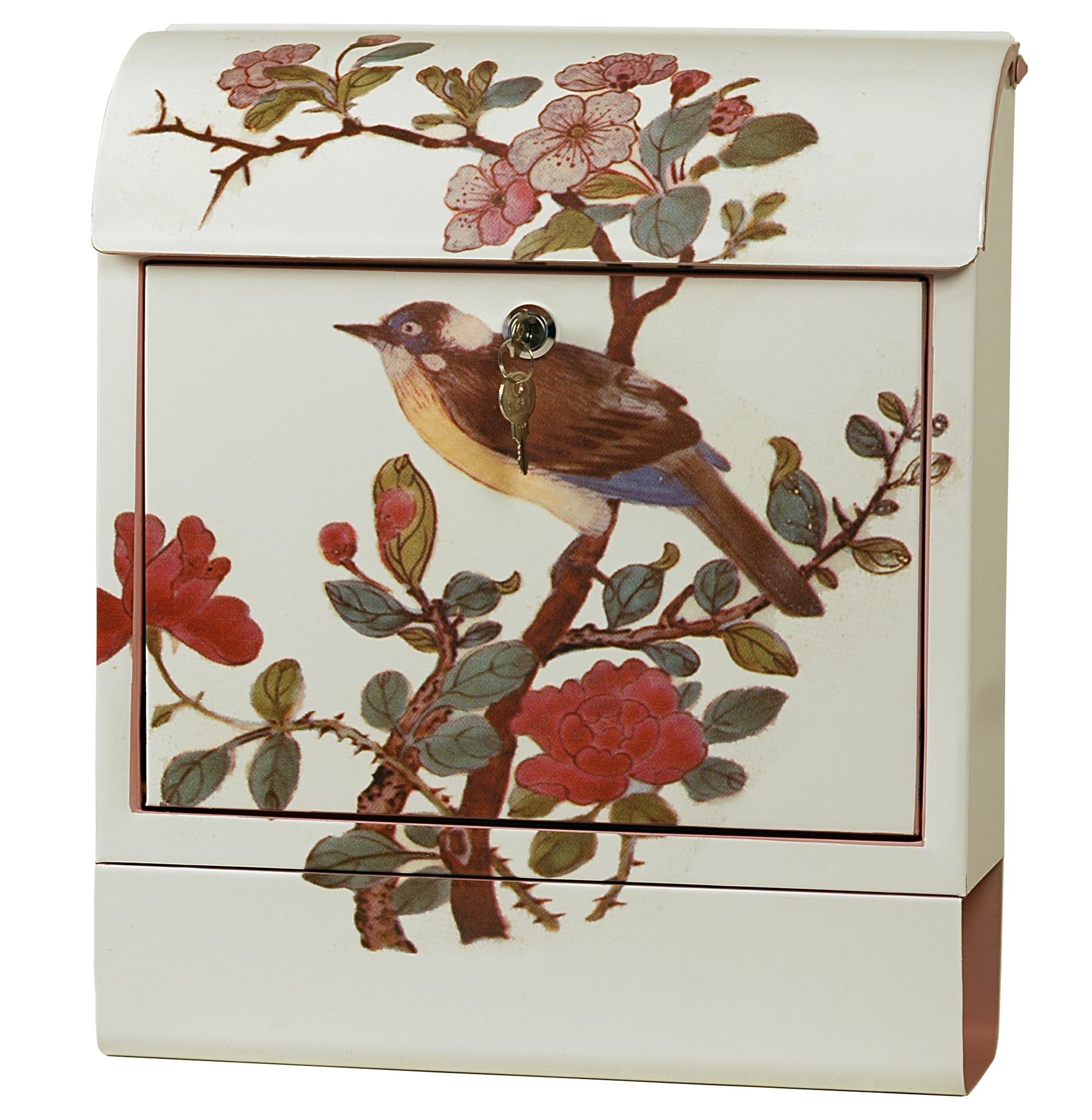 exklusiver design briefkasten mit zeitungsrolle stahlblech mit motiv vogel handarbeit b38 x. Black Bedroom Furniture Sets. Home Design Ideas