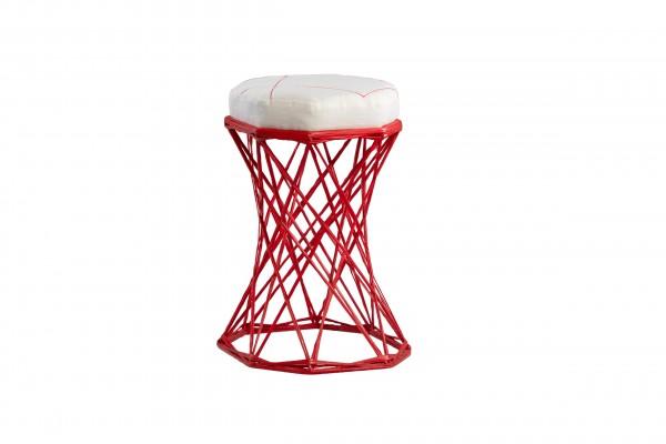 Exklusiver Designhocker aus Fiberglas mit Sitzkissen in Stuhlhöhe, patentierte Handarbeit, H = 45 cm, Ø oben = 29 cm, unten 33 cm, leicht und trotzdem stabil