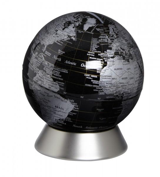 Moderner Globus / Weltkugel / Spardose, aus Metall, silber und Kunststoff, Ø14 x H15 cm