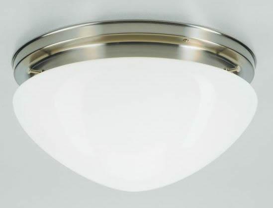 Deckenleuchte / Plafonnier, Messing Nickel matt, Glas weiß glänzend, Höhe 17 cm, Breite 30 cm, 230 V, 1 x E27 60 W