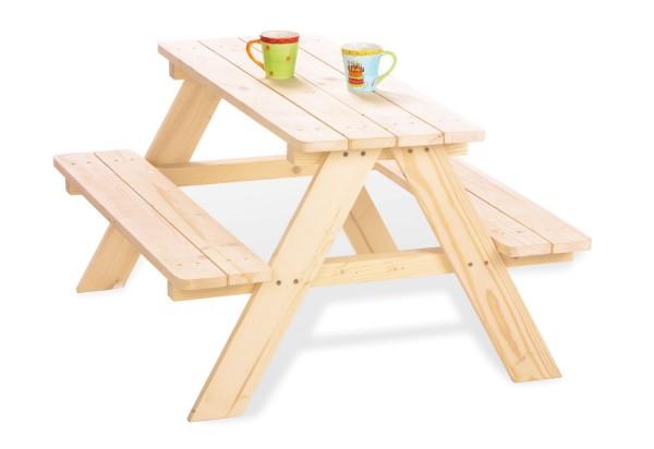 Pinolino Kindersitzgarnitur für 4 Kinder, 2 Bänke und 1 Tisch, aus Fichte natur, unbehandelt, vollmassiv, L 90 x B 79 x H 50 cm