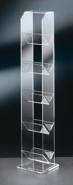 Hochwertiger Acryl-Glas CD DVD Ständer / CD DVD Regal, klar, 20 x 20 cm, H 101 cm, Acryl-Glas-Stärke 6 / 5 / 4 mm