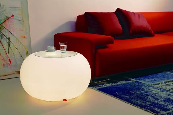 Moree Bubble, beleuchteter Tisch, mit Sicherheitsglasplatte, Ø 68 cm, H 41 cm, Oberfläche Ø 40 cm, Polyethylen, seidenmatt, weiß, mit E27 (230 V) Energiesparlampe, für Innen