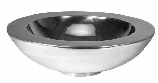 Schale, rund, doppelwandig, aus Aluminium, hochglanzpoliert, in 2 Größen erhältlich