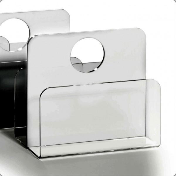 Hochwertiger Acryl-Glas Zeitungsständer, Zeitschriftenständer, 33 x 16 cm, H 43 cm, Acryl-Glas-Stärke 5 / 8 mm