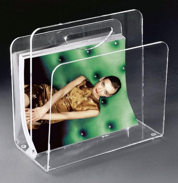 Hochwertige Acryl-Glas Zeitungstasche, Zeitungsständer, klar, 33 x 23 cm, H 31 cm, Acryl-Glas-Stärke 8 / 6 mm