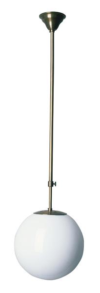Deckenleuchte, Bauhaus Stil, Messing antik-handpatiniert (Altmessing), Höhe mit Glas 80 cm bis 110 cm einstellbar, Ø 30 cm, 230 V, E27 60 W