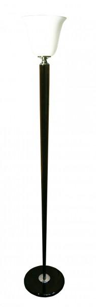 Stehleuchte / Standleuchte, Mazda Replika, Art déco Stil, Messing vernickelt, Sockel u. Schaft schwarz lackiert, Höhe 180 cm, 230 V, E27 60 W