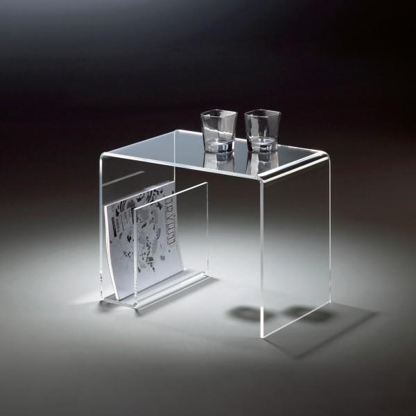 Hochwertiger Acryl-Glas Beistelltisch mit Zeitungsfach, klar, 48 x 32 cm, H 38 cmAcryl-Glas-Stärke 8 mm